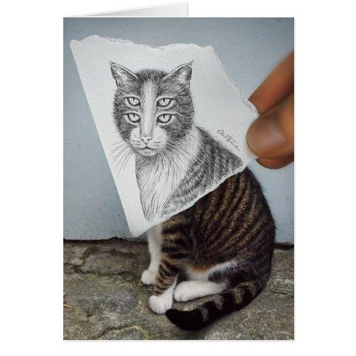 Lápiz contra la cámara - gato de 4 ojos tarjeta de felicitación