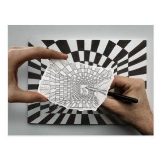 Lápiz contra la cámara - geometría tarjeta postal