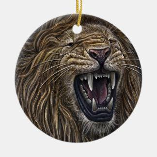 Lápiz contra la cámara - león poderoso ornamento de navidad