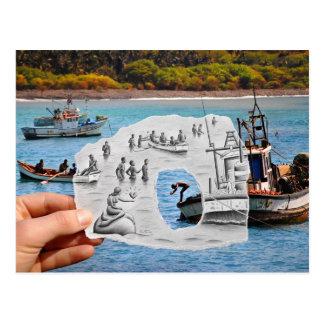 Lápiz contra la cámara - sirena tarjetas postales