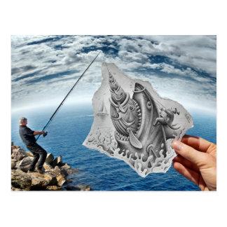 Lápiz contra la cámara - tiburón postales