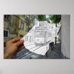 Lápiz contra la cámara - tranvía de Lisboa Posters