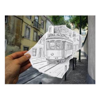 Lápiz contra la cámara - tranvía de Lisboa Postal
