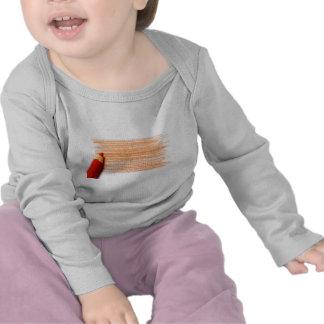 Lápiz del color rojo con el colorante camiseta