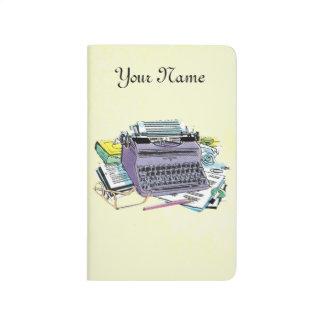 Lápiz del papel de máquina de escribir de las herr cuaderno grapado