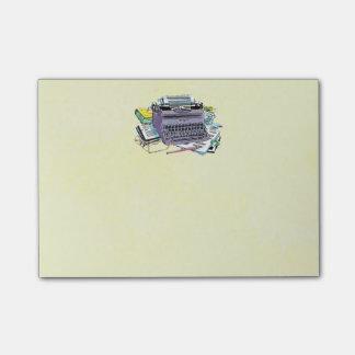 Lápiz del papel de máquina de escribir de las herr post-it notas
