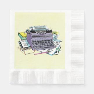 Lápiz del papel de máquina de escribir de las servilletas de papel