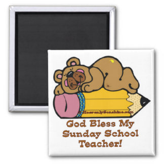 Lápiz del profesor de escuela dominical imán cuadrado