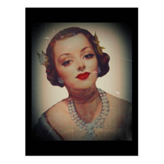 Lápiz labial atractivo retro del chica tarjetas postales