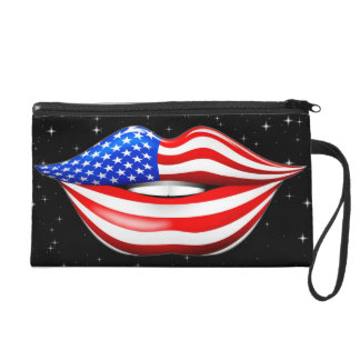 Lápiz labial de la bandera de los E.E.U.U. en el b