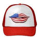 Lápiz labial de la bandera de los E.E.U.U. en el g Gorras