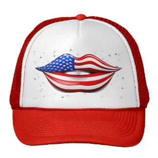 Lápiz labial de la bandera de los E.E.U.U. en el g Gorros Bordados