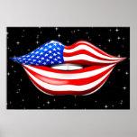 Lápiz labial de la bandera de los E.E.U.U. en el p Impresiones