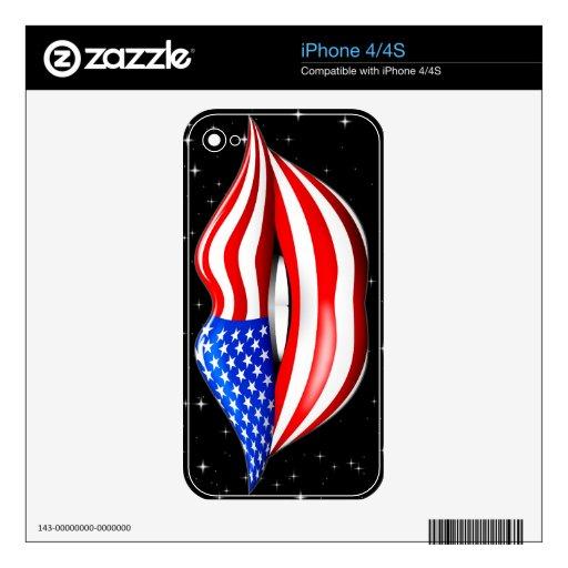 Lápiz labial de la bandera de los E.E.U.U. en piel iPhone 4 Calcomanía