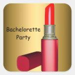 Lápiz labial del fiesta de Bachelorette que casa Calcomanías Cuadradas