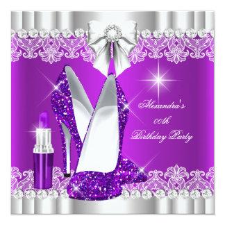"""Lápiz labial elegante de los talones de la púrpura invitación 5.25"""" x 5.25"""""""