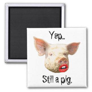 Lápiz labial en un cerdo imán para frigorifico