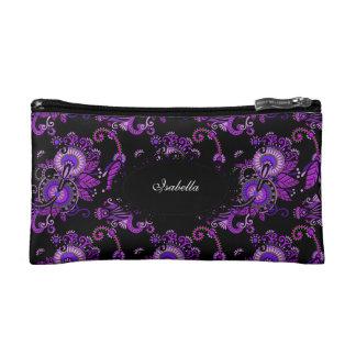 Lápiz labial floral púrpura cosmético del maquilla