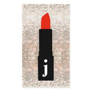 Lápiz labial lindo del artista de maquillaje de la tarjetas de visita