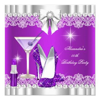 """Lápiz labial Martini de los talones de la púrpura Invitación 5.25"""" X 5.25"""""""