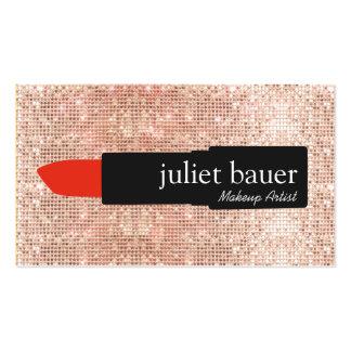 Lápiz labial moderno del artista de maquillaje de tarjetas de visita