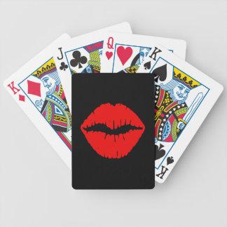 Lápiz labial negro y rojo cartas de juego