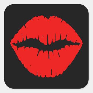Lápiz labial negro y rojo pegatina cuadrada