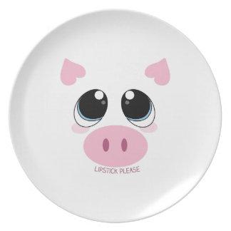 Lápiz labial por favor platos de comidas