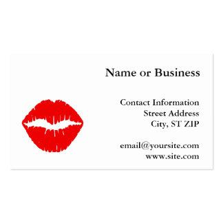 Lápiz labial rojo tarjeta de negocio