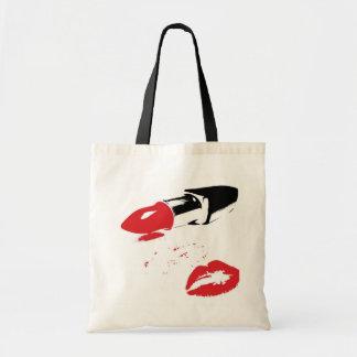 Lápiz labial y tote del presupuesto de los labios bolsa tela barata