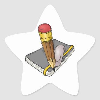 Lápiz y borrador del cuaderno pegatina en forma de estrella