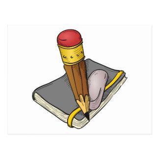 Lápiz y borrador del cuaderno tarjeta postal