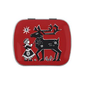 Lapland Girl Holding Reindeer Candy Tin