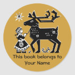 Lapland Girl Holds Reindeer Book Library Tag Round Sticker