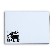 Lapland Girl Holds Reindeer Christmas Envelope at Zazzle