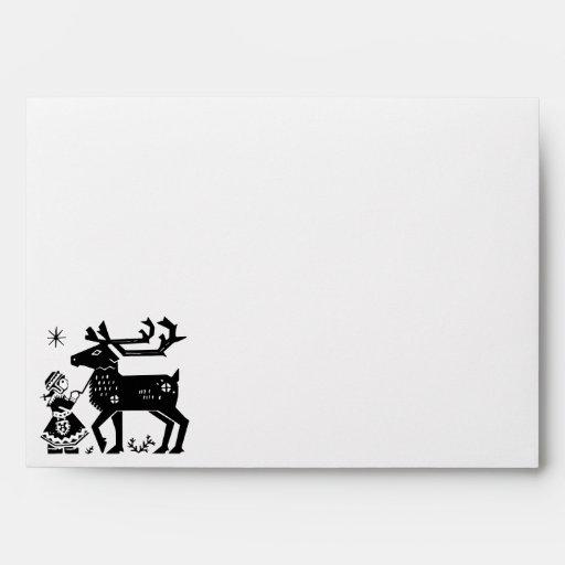 Lapland Girl Holds Reindeer Christmas Envelope