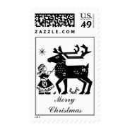 Lapland Girl Holds Reindeer With Antlers Stamp at Zazzle