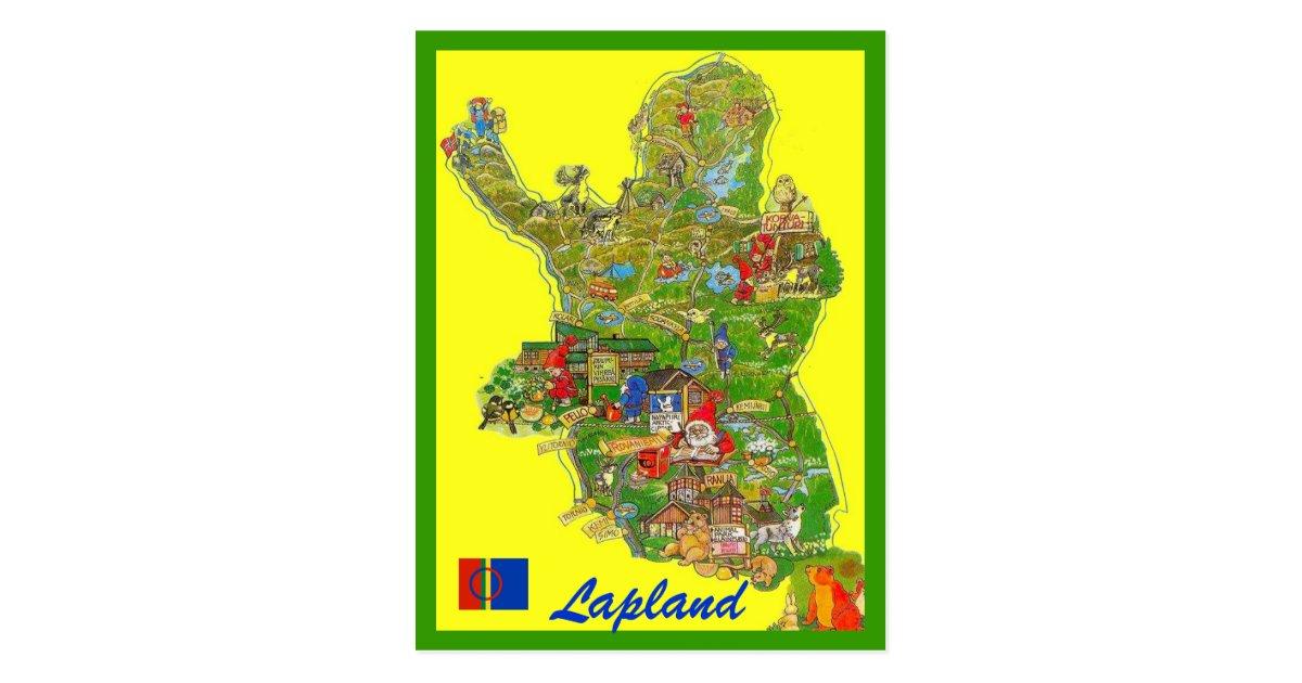 Lapland Map Postcard Zazzle Com