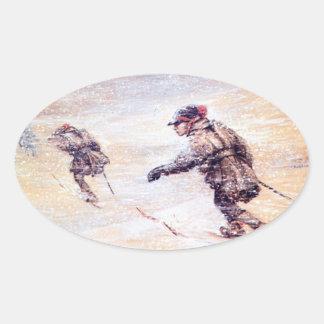 Laplanders in Snowstorm - Lappar i snostorm Oval Sticker