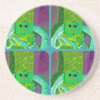 LAPPENPOP - SPINDEROK - RAG DOLL green 1.png Beverage Coaster