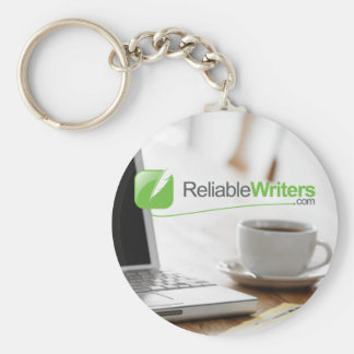 laptop and coffee, Reliable Writers keychain