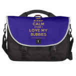 [Two hearts] keep calm cuse i love my bubbies  Laptop Bags