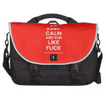 [UK Flag] keep calm and run like fuck  Laptop Bags