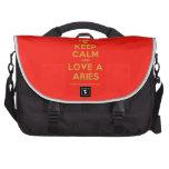 [Skull crossed bones] keep calm and love a aries  Laptop Bags