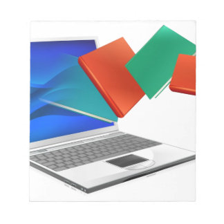 Laptop books education or ebook concept memo pads