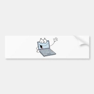 Laptop Cartoon Character Waving A Greeting Bumper Sticker