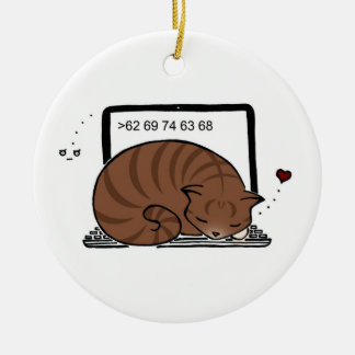 Laptop Cat Bed (Brown Tabby) Ornament