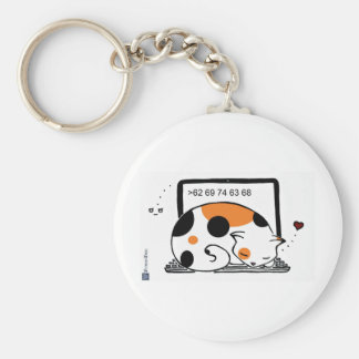 Laptop Cat Bed (Calico) Keychain