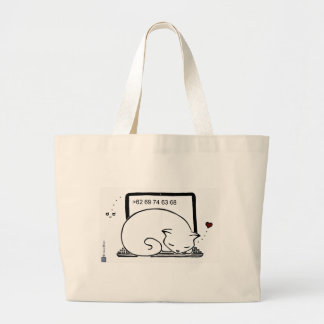 Laptop Cat Bed Large Tote Bag