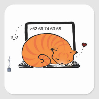 Laptop Cat Bed (Orange Tabby) Square Sticker